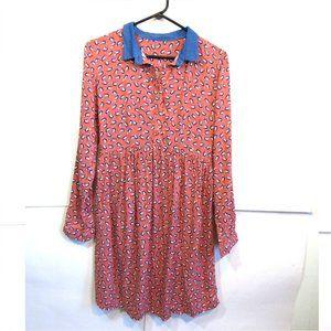 Modest Long Sleeve Midi Dress Novelty Print